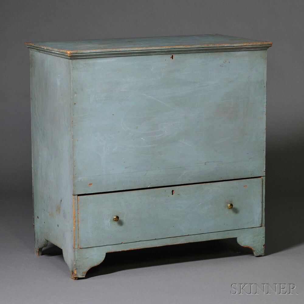 Blue-painted Shaker Blanket Chest over Drawer, possibly Watervliet ...