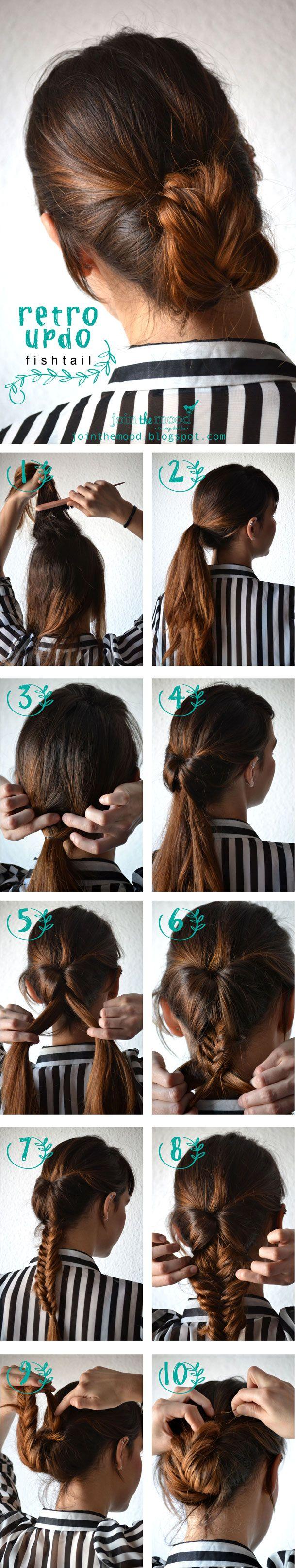 impossibly cute quinceañera hair ideas retro updo fishtail
