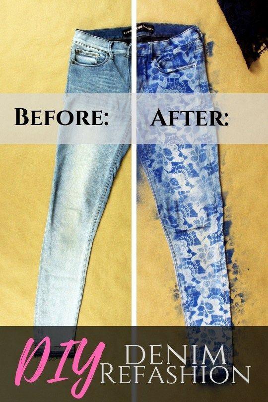 10 Minute DIY Lace Denim Jeans Refashion Tutorial | Do It
