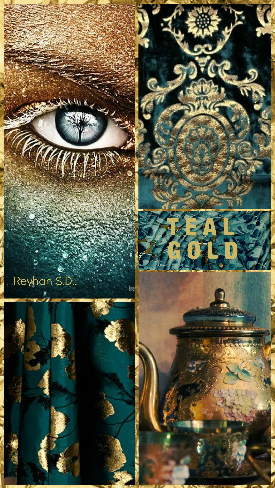 ' Teal & Gold '' by Reyhan S.D. #collageboard