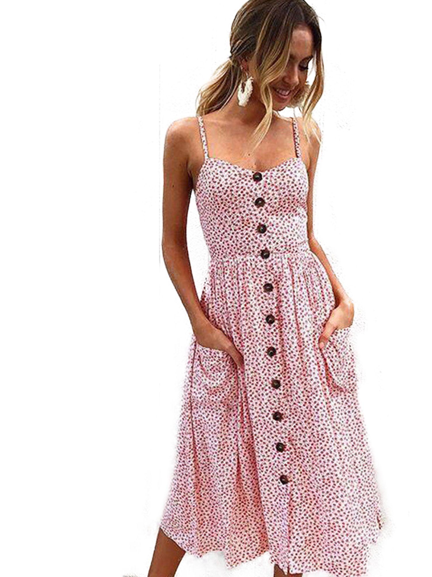 Wodstyle Women S Strappy Floral Summer Beach Party Midi Swing Dress Walmart Com Casual Dresses Boho Midi Dress Cheap Summer Dresses [ 2000 x 1500 Pixel ]