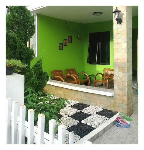 teras rumah minimalis sederhana dengan batu alam cantik