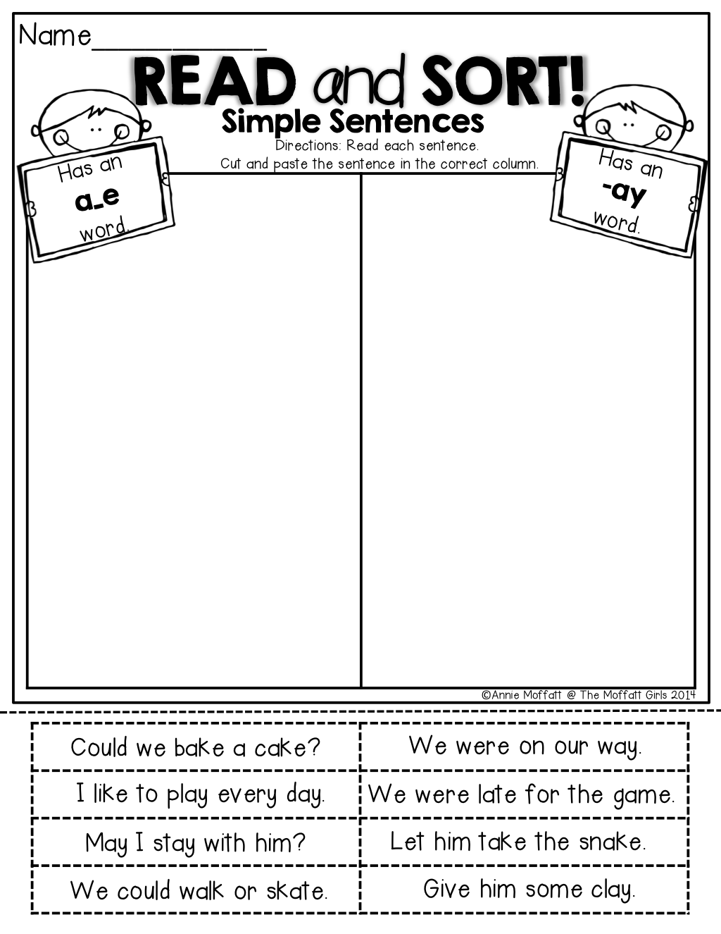 hight resolution of LONG VOWEL sentence word sort!   Phonics words