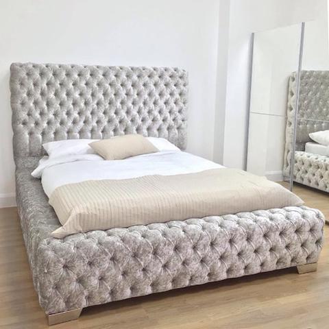 Sorrento Silver Crushed Velvet Super Buttoned Bed Velvet Bedroom