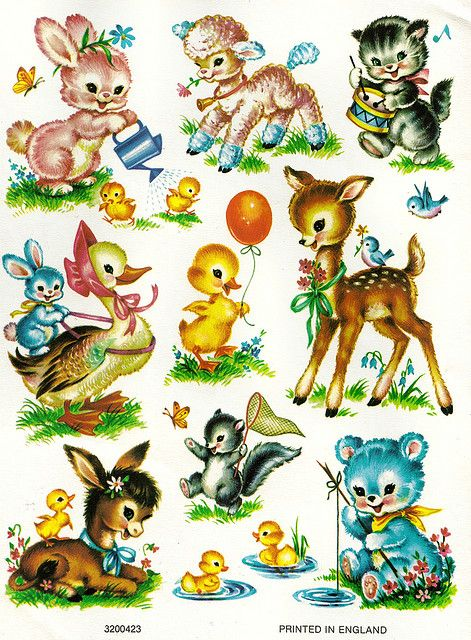 9138e364ac523 Vintage animal stickers.