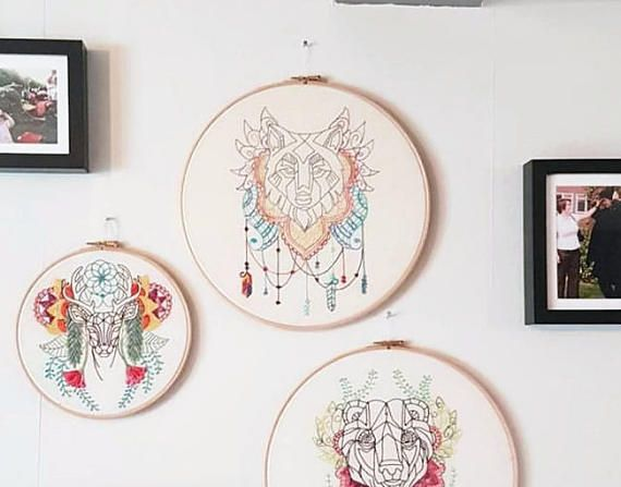 Wolf Embroidery Hoop Modern Hand Embroidery Abstract Animal Wall