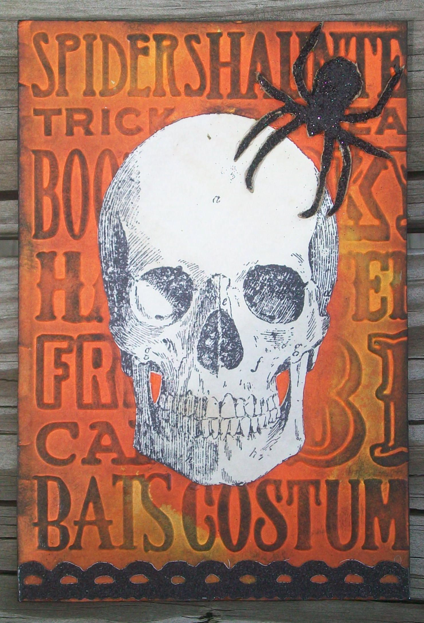 Post card made with Tim Holtz stamp, embossing folder, and dies. Halloween