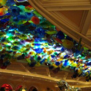 ceiling inside Bellagio hotel & casino. Las Vegas, NV - February 2012