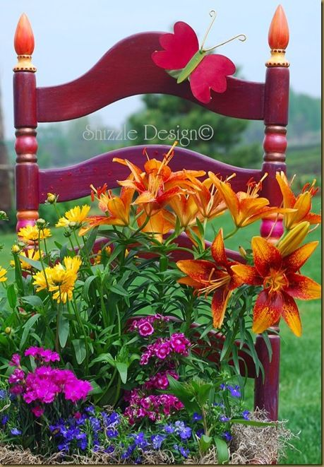 Repurpose a chair into a beautiful planter. Note: The story about this particular chair is very moving.