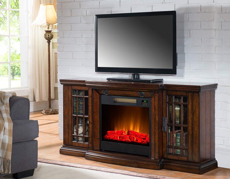 60 Low Profile Electric Fireplace With Bluetooth Speakers At Big