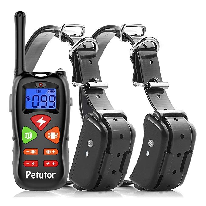 Petutor Dog Training Collar For 2 Dogs 1800ft Remote Waterproof