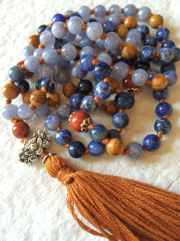 Light Green Aventurine japa mala 108 hand-knotted bead boho yoga tassel necklace with buddha charm