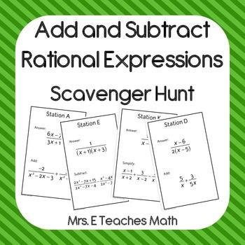 Add And Subtract Rational Expressions Scavenger Hunt Algebra Math