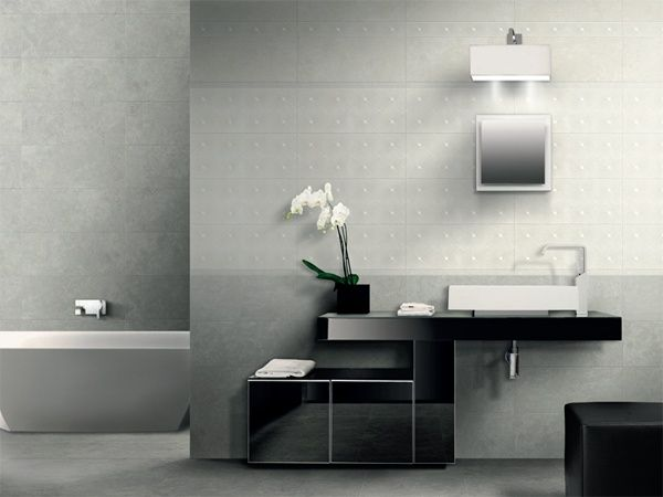 Pavimento e rivestimento karma bianco grigio con decoro - Rivestimento bagno grigio ...
