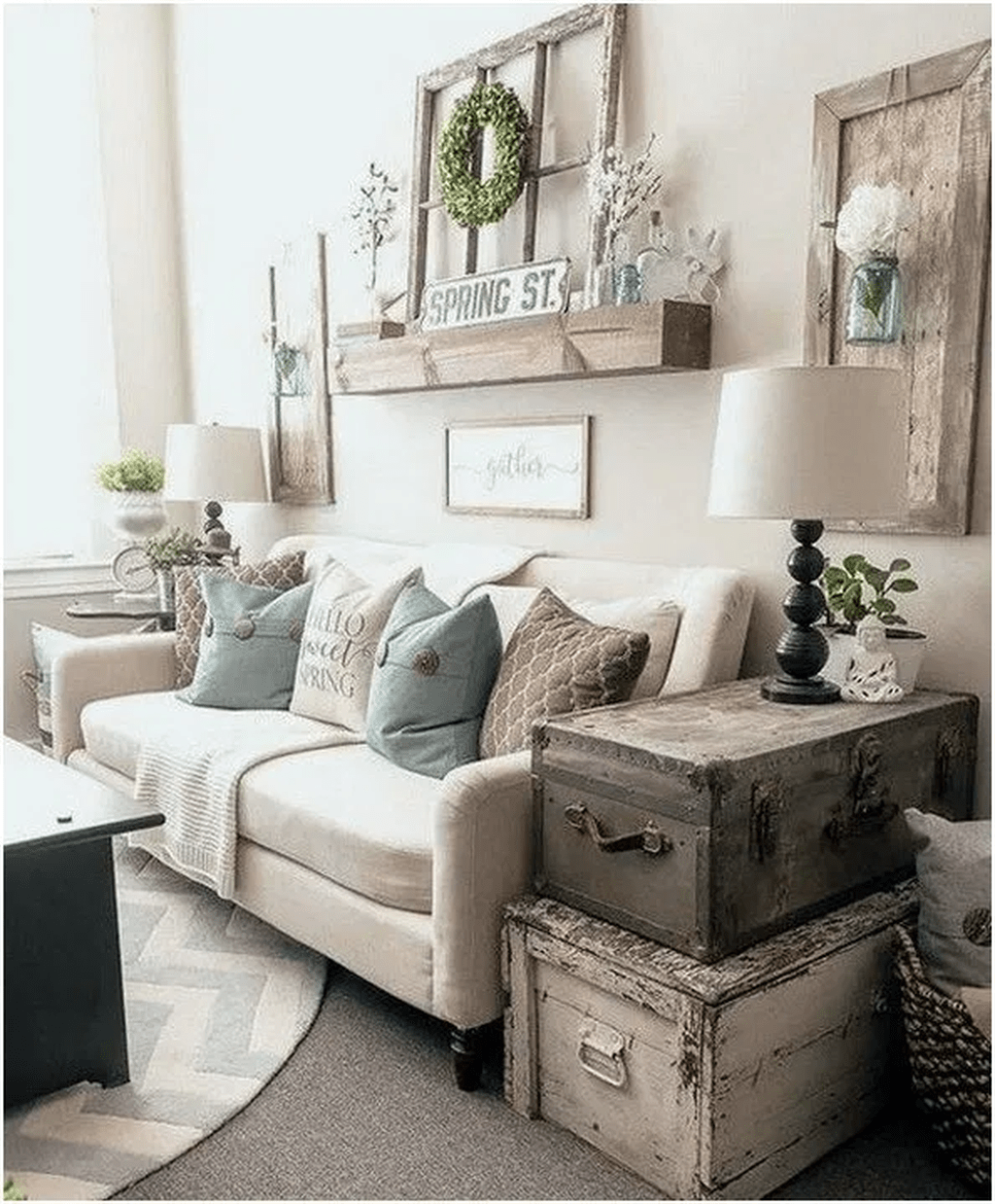 Make your space comfortable and stylish with these chic living room decorating ideas and pictures. Pin By Kelli Taylor On Home Decor In 2021 Farmhouse Decor Living Room Cozy Farmhouse Living Room Farm House Living Room