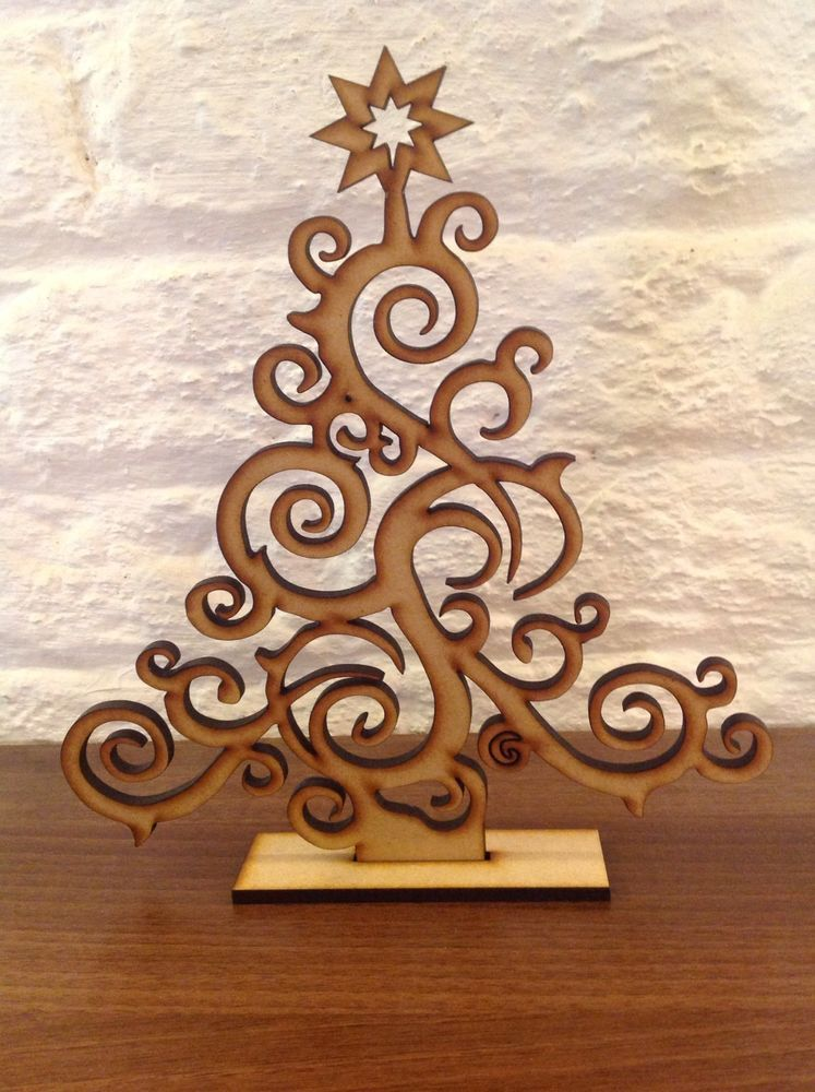 Set Of 2 Laser Cut Christmas Tree Decoration Gift Xmas Plain Wood