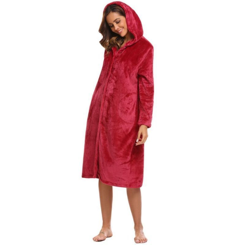 4a39a68fbc Women long hooded sleep robe sleepwear long sleeve soft plush bathrobe  homewear female soft home clothes autumn winter  cotton