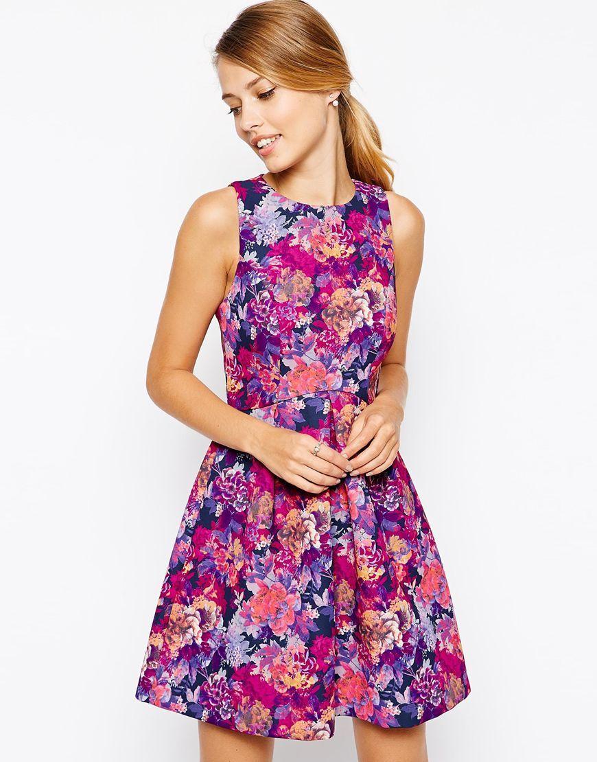 oasis   oasis rose print bonded dress at asos   niedliche