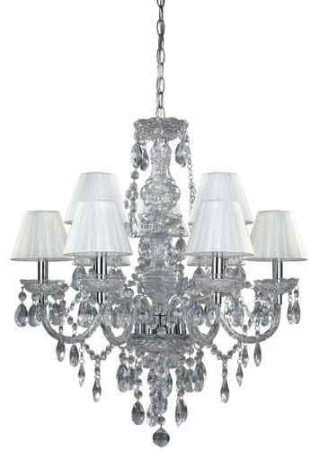 Concerto 9 light 25 25 clear lucite white shades chandelier at menards