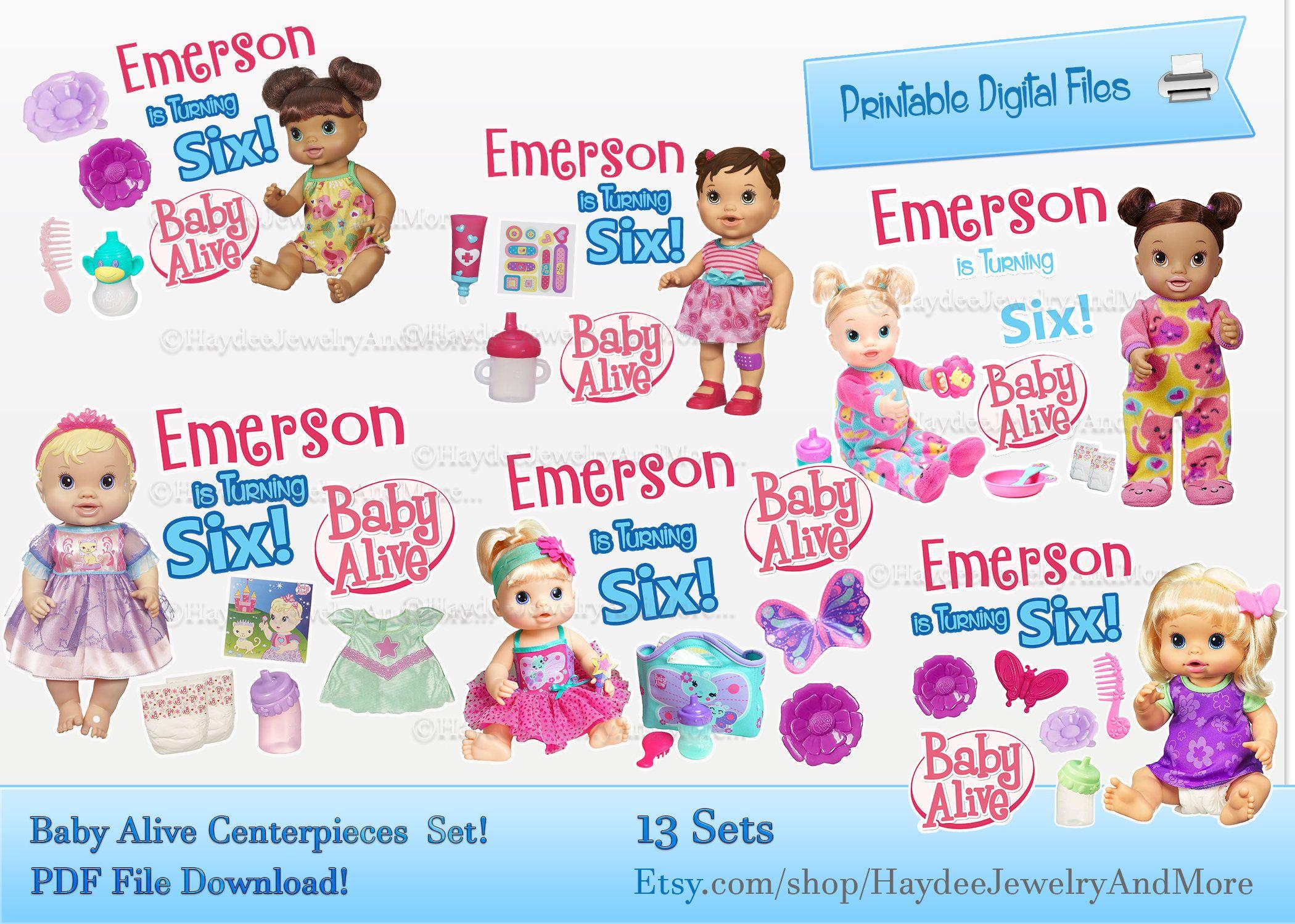 Baby Alive Centerpieces Etiquetas Centro De Mesas Baby Alive Birthday Theme Etiquetas De Cumplea Party Labels Birthday Invitations Girl Digital Invitations