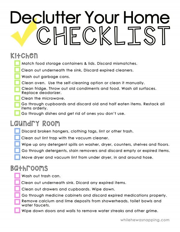 declutter your home printable checklist