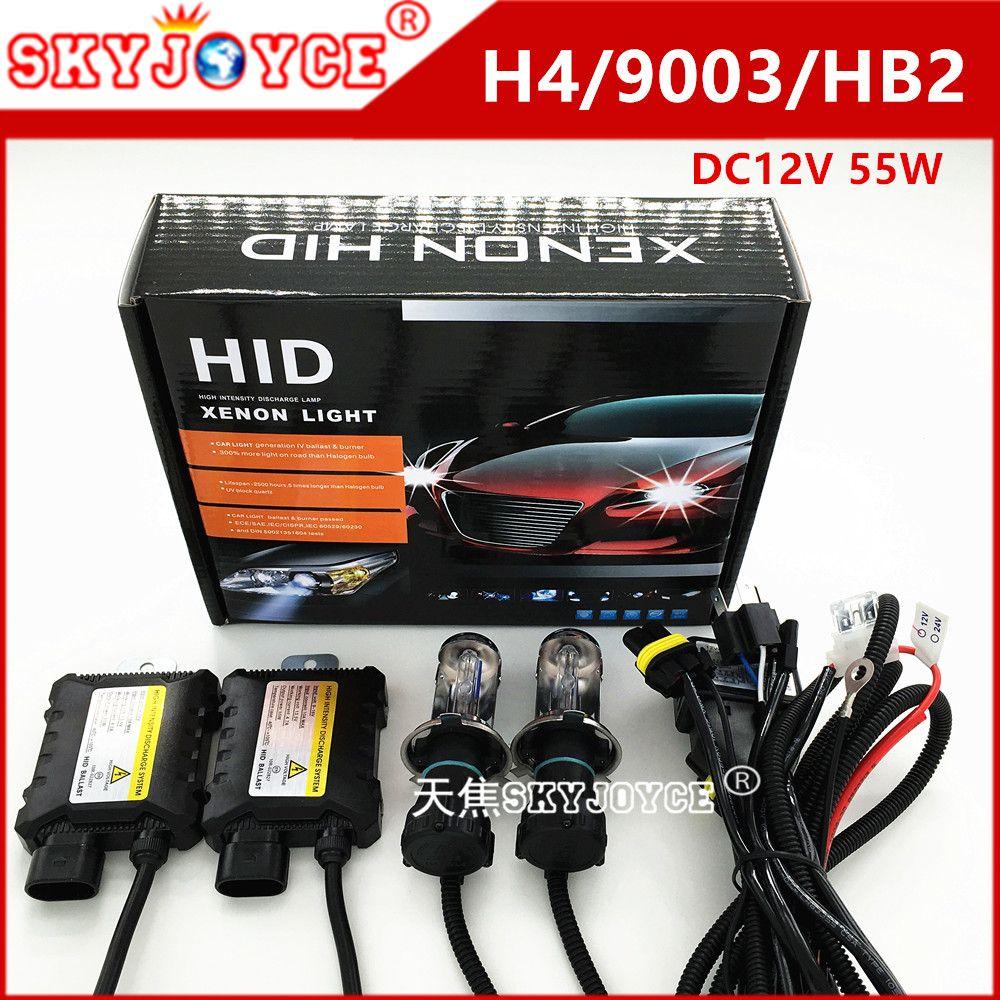 H4 Bi Xenon HID Headlight Conversion Kit High Low Beam AC Slim Ballasts 6000k