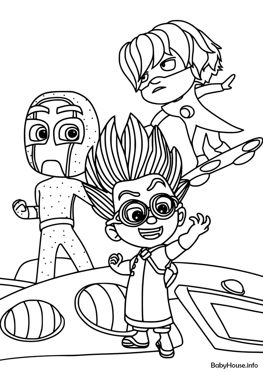 Group Of Villains Pj Masks Coloring Pages Birthday Coloring