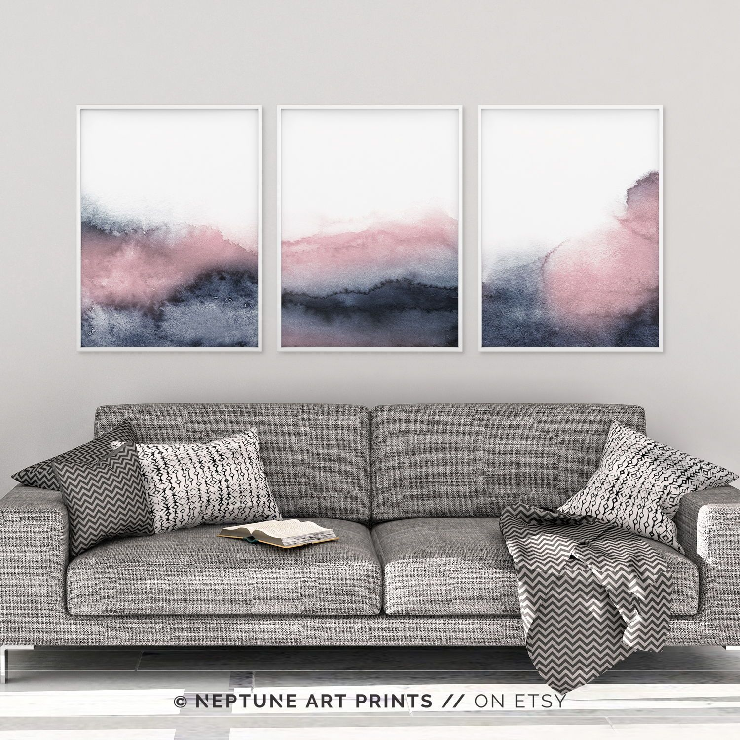 Set Of 3 Piece Wall Art Printable Print Set Pink Blue Prints Blush Pink And Grey Wall Art Abstract Art Three Prints Bedroom Print Set Grey Wall Art Blue Wall Art