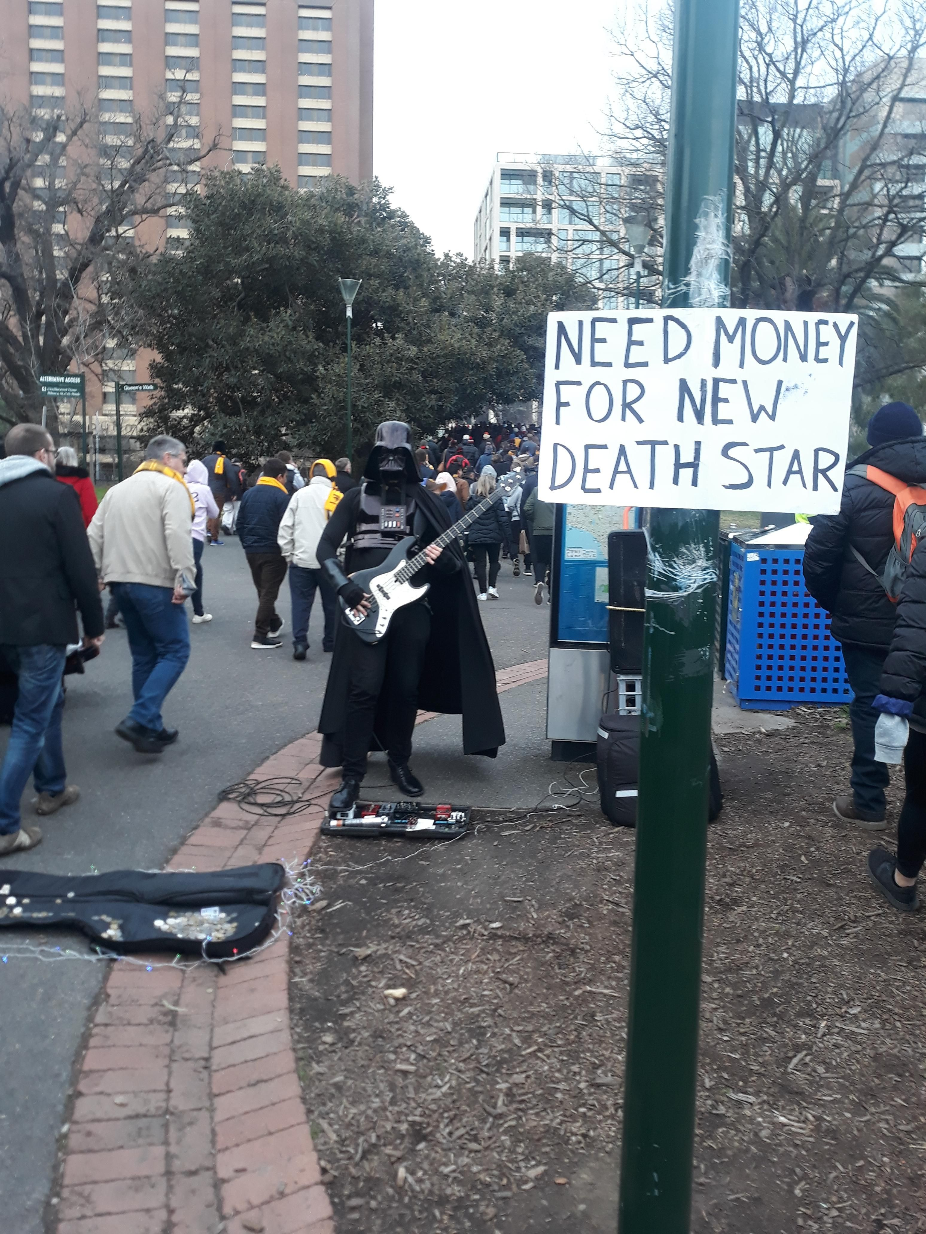 Vader has fallen on hard times busking for after an AFL
