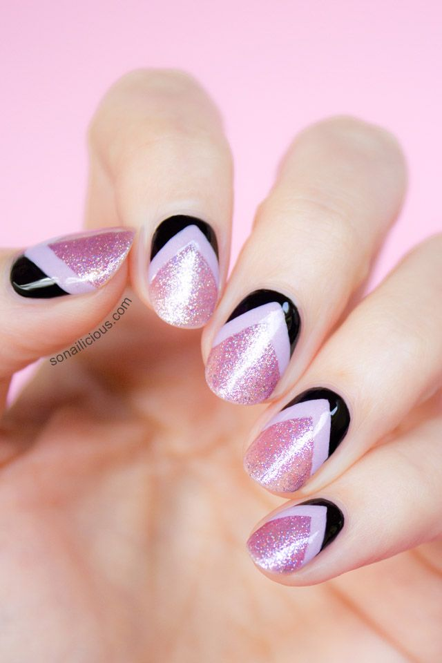 Pink Glitter Nails With Reverse Chevron Details | Chevron nail art ...