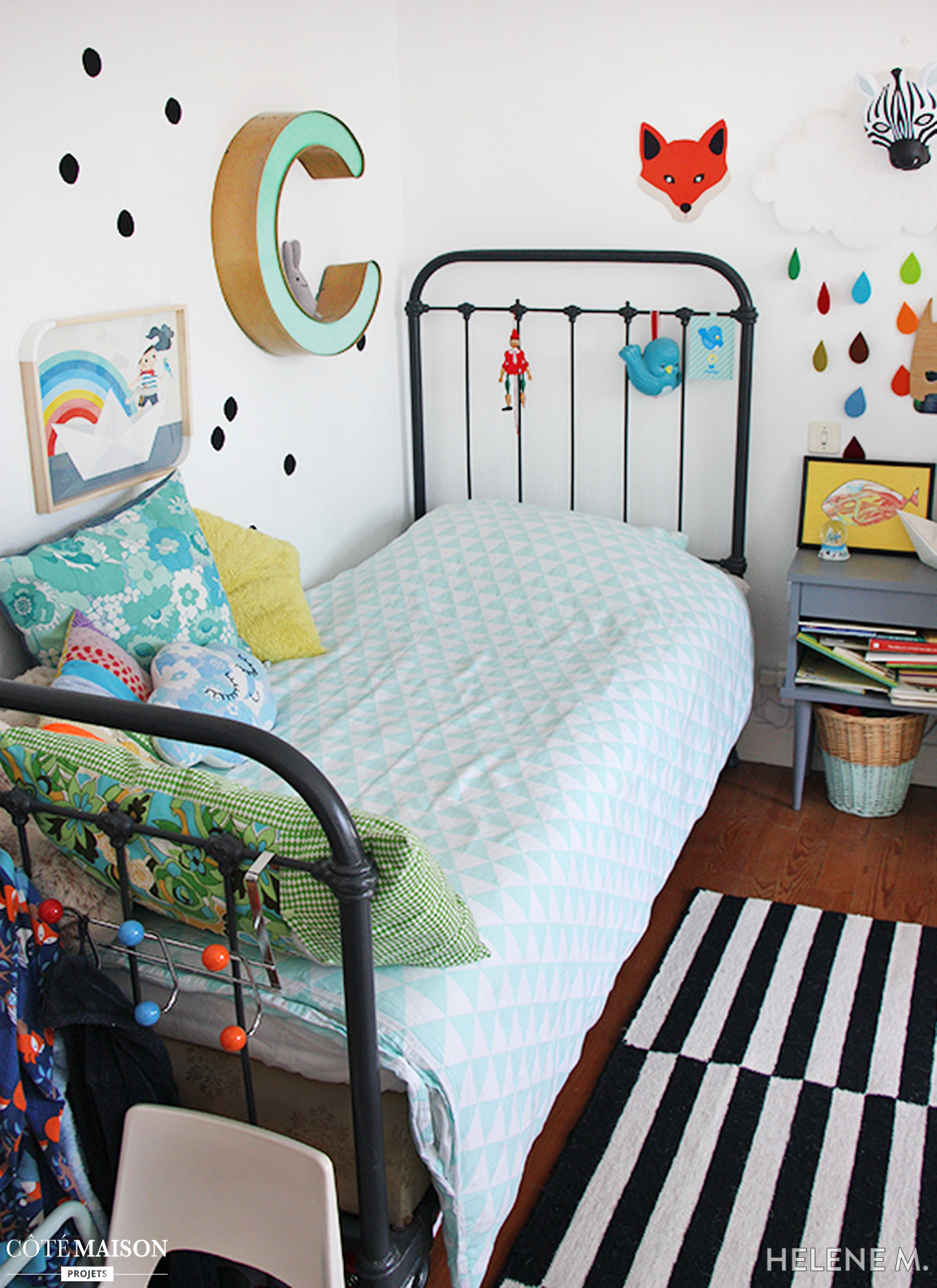 chambre d enfant vintage et coloree