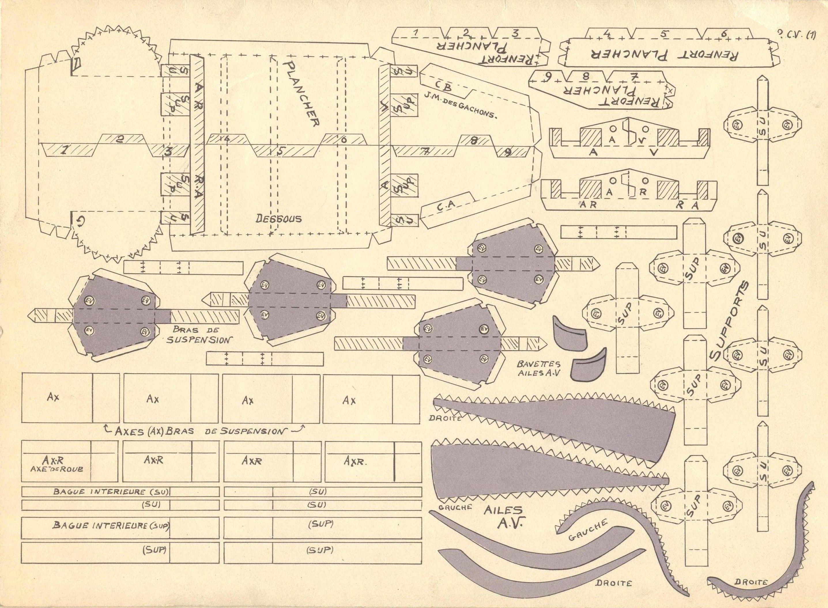 2CV à construire, planche 2, Ingénia, Constructions de Précision, 1954.