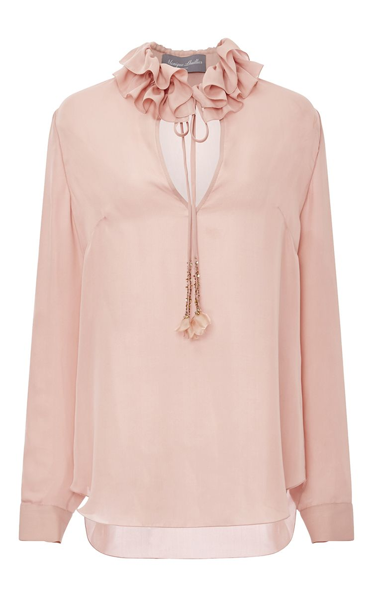 Georgette Blouse With Ruffle Collar by MONIQUE LHUILLIER for Preorder on Moda Operandi