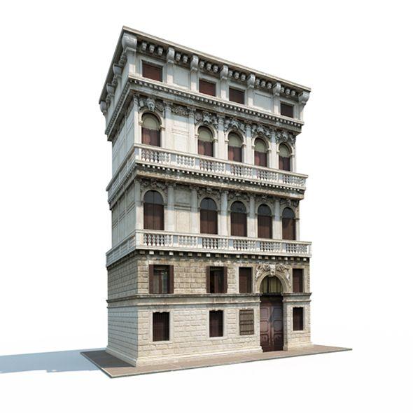 Old Brick Apartment Building: Aparmtne House #162. 3D Model Of A Building. #apartment