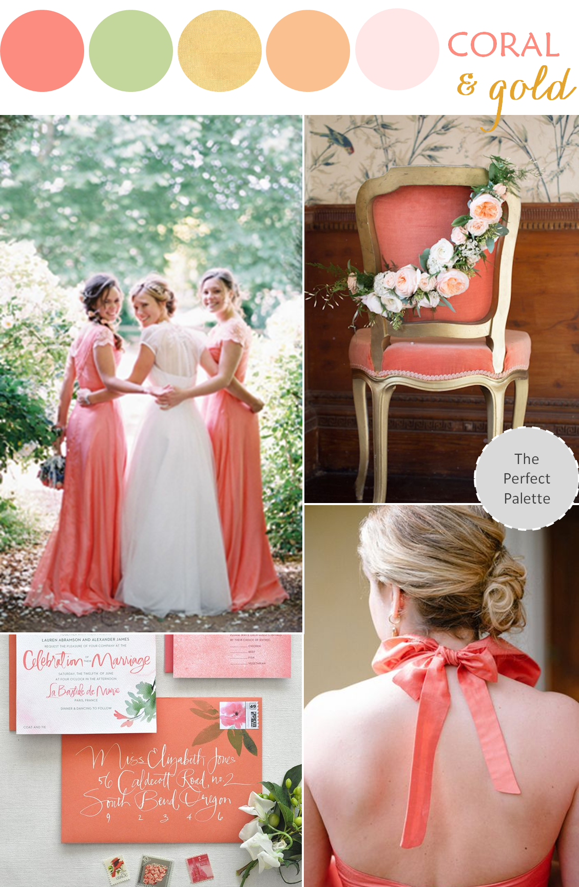 Wedding color palette coral green gold gold for Wedding color scheme ideas