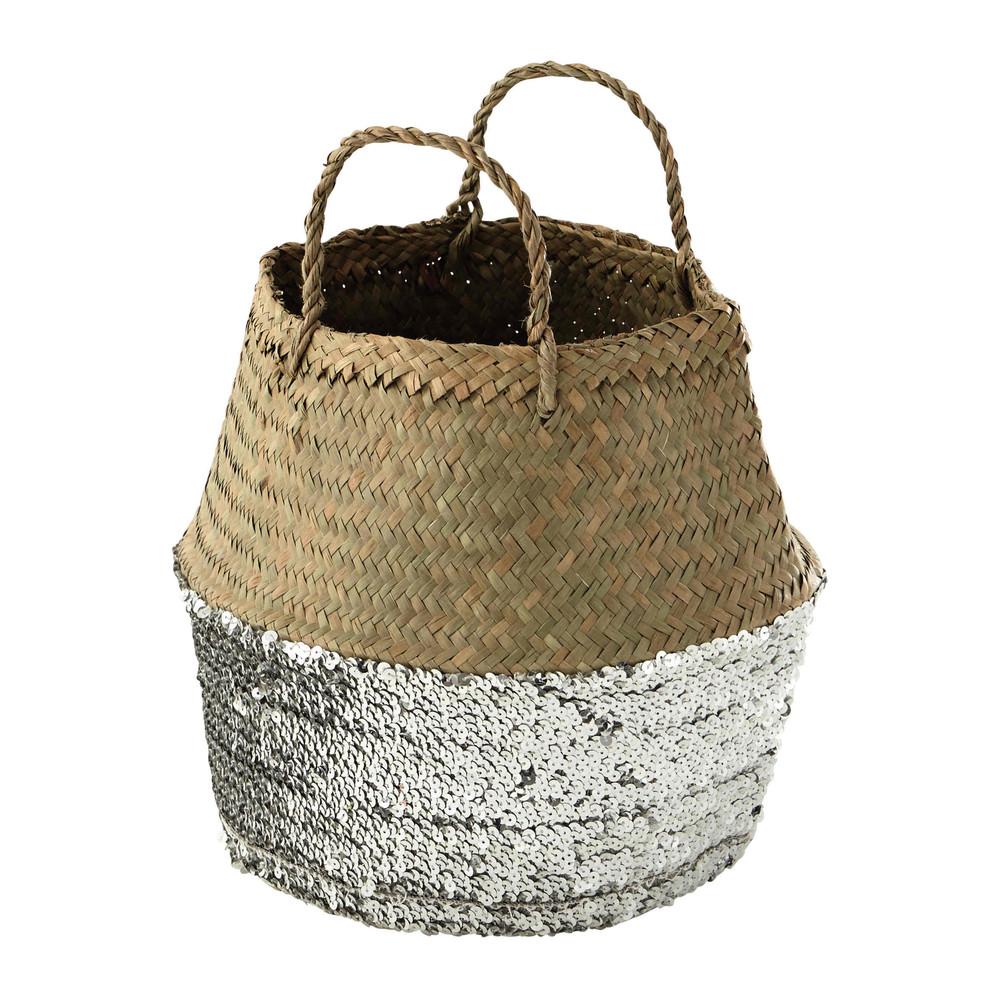 Panier tha landais en fibre v g tale sequins h 39 cm for Panier basket chambre