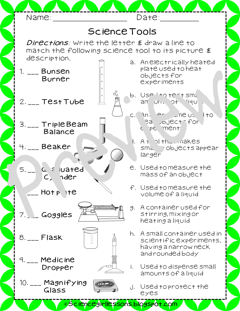 hight resolution of This unique assignment helps you assess your students knowledge of basic  science tools. The worksheet highlights …   Science tools