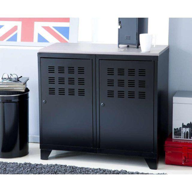 armoire de rangement en m tal noir 2 portes 40x80x75cm. Black Bedroom Furniture Sets. Home Design Ideas