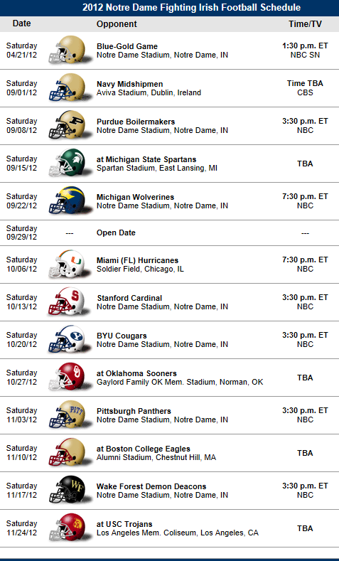 Notre Dame Fighting Irish 2012 Football Schedule Notre Dame Football Schedule Georgia Bulldogs Football Georgia Bulldogs Football Team
