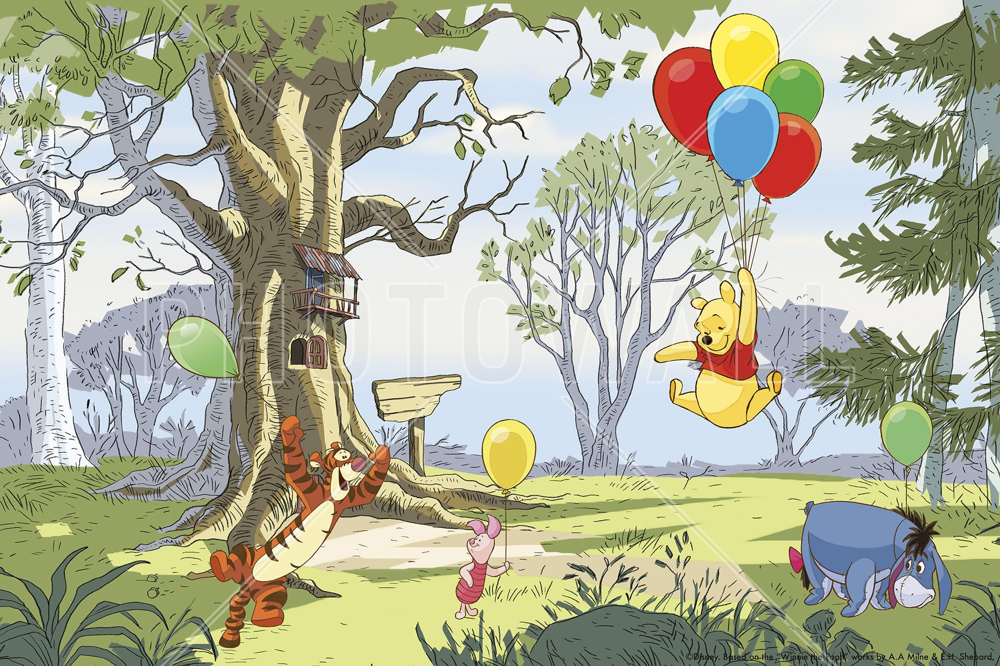 Winnie the Pooh Up and Away Wall Mural & Photo