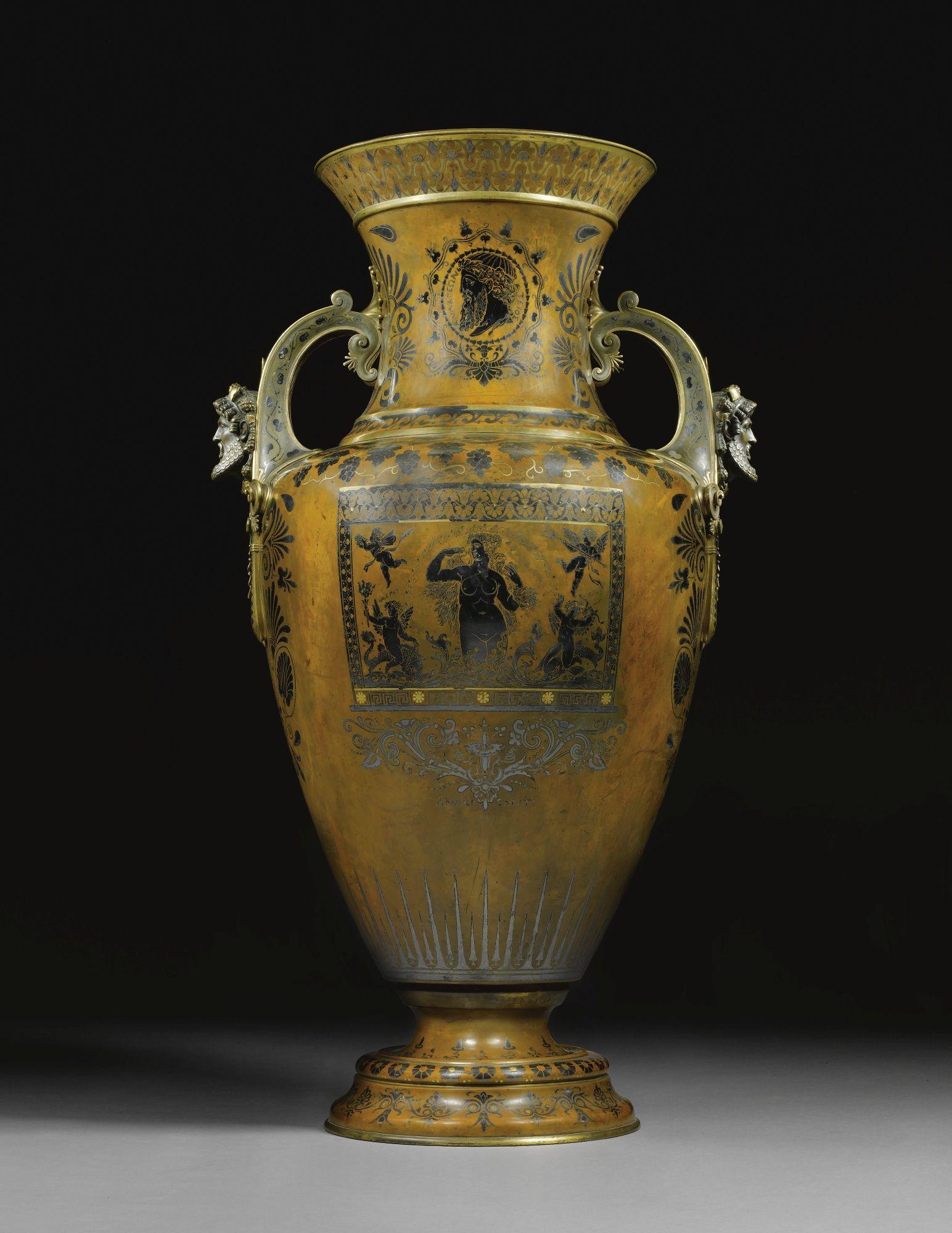 A monumental copper, silver and silver-gilt vase, designed by Émile-Auguste Reiber for Christofle, Paris, 1873 | lot | Sotheby's