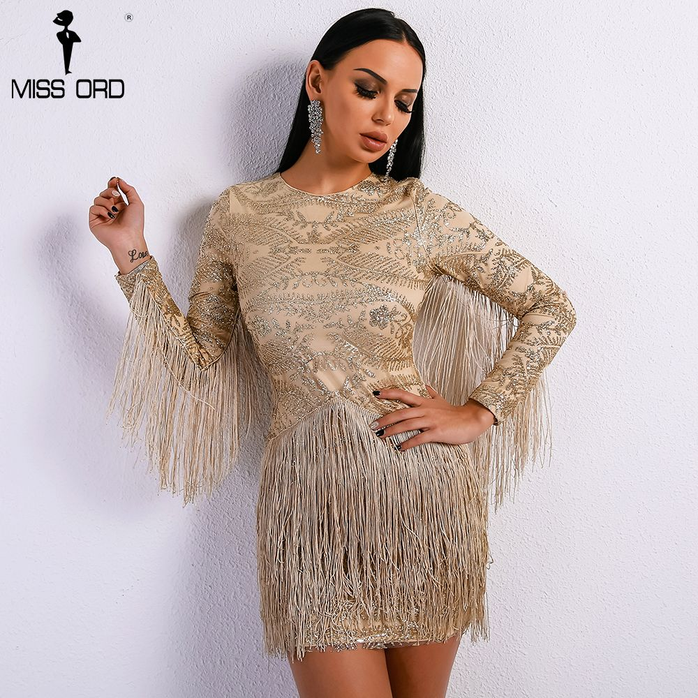 Sexy o neck long sleeve tassel glitter elegant gold dress womenus