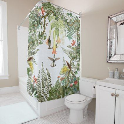 Hummingbird Birds Flowers Ferns Shower Curtain