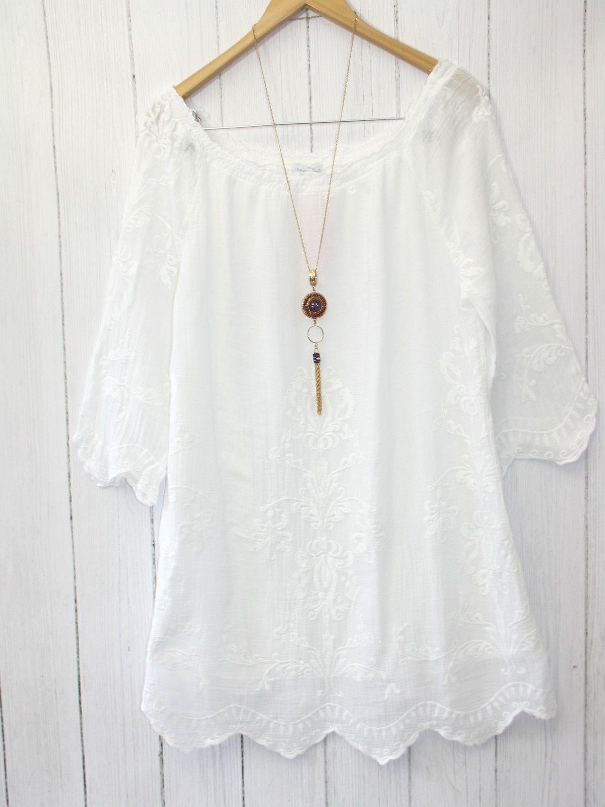 e7b7234df261f9 Diana Italy Tunika Bluse 38 40 42 Boho Hippie Style Stickerei Weiß NEU |  eBay