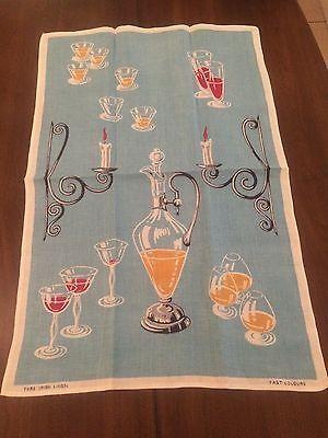 VTG Linen Tea Towel Brandy Decanter UNUSED 30 x 20 Blue Gold White