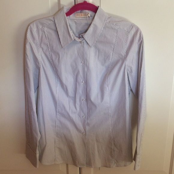 """Tory Burch Addie Shirt Brand-new, never worn. Original tag & spare button attached. Color is navy pinstripe on white. Size 10. Great classic piece to any wardrobe! Made from a heavyweight stretch poplin. Shoulder to wrist 24"""". Length 24.5"""". NO TRADES! Tory Burch Tops"""