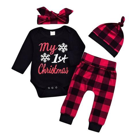 Cute Newborn Baby Boy Girls First Christmas Clothes Romper Pants Hat Outfit 3PCS