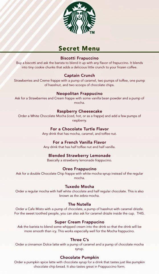 Starbucks Secret Menu Food Secret Starbucks Recipes