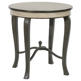 """Wood end table in distressed gray with an x-shaped stretcher. Product: End table Construction Material: Wood Color: Distressed gray Features: Elegant X-stretcherPart of the Shefield collectionPerfect for displaying lamps, flowers or picture frames Dimensions: 27.5"""" H x 26"""" Diameter"""