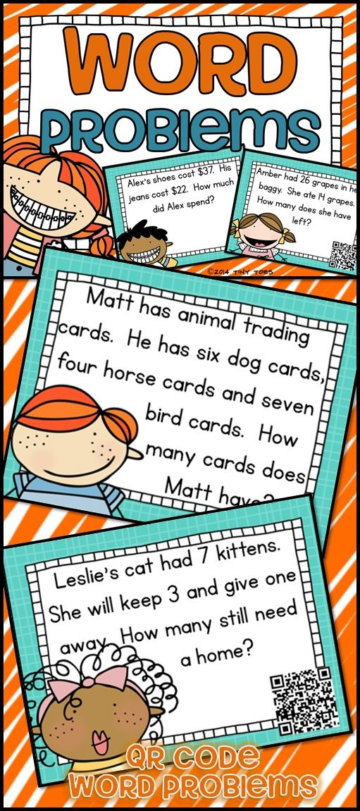 SCOOT Math Word Problems Task Cards and QR Codes Kids Theme ...